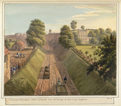 Croydon Railroad, while in progress, from the Bridge at New Cross, Deptford